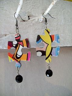 puzzle piece earrings-with the right puzzle and beads, these could be really cool! Lots of puzzles at dollar tree, too....