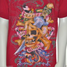Ed Hardy Womens T Shirt Death or Glory Red Bling Rhinestone Large L Cotton #EdHardy #EmbellishedTee
