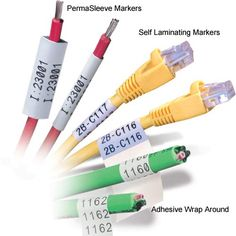 brady IDxpert permasleeve, self-laminating, and adhesive wrap around markers