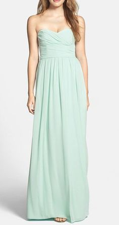 Strapless Ruched Chiffon Sweetheart Gown