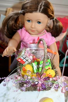 Easter basket for American Girl doll made by me for my daughters