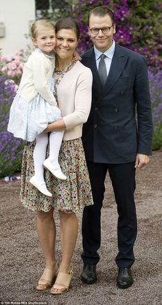 The toddler appeared happy to pose for pictures with her mother Crown Princess Victoria and father Prince Daniel