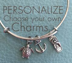 Nautical Beach  Customize Alex & Ani Inspired, Your Own Silver Bracelet, Charms, Summer Vacation, Sea Shore, Shell, flip flops, anchor, boat by Arrimage on Etsy