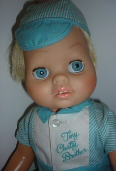 Dee Cee-Canadian - Tiny Chatty Brother Doll -Glassiene Eyes -Mattel outfit -Chatty Cathy Family