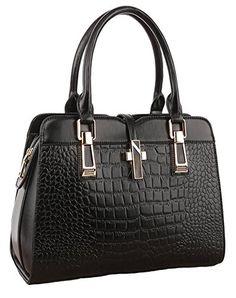 2eca1fec25f Ilishop Womens Genuine Leather New Office Lady Casual Vintage Crocodile Top  Handle Tote Shoulder Crossbody Bag
