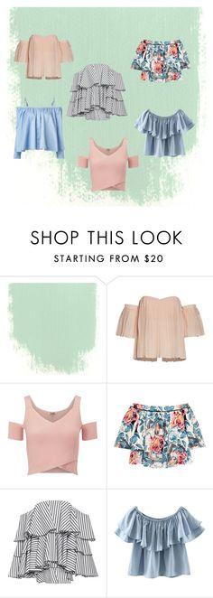 off - shoulder tops by linyes on Polyvore featuring moda, Caroline Constas, Sandy Liang, Elizabeth and James, Chicnova Fashion and Lipsy