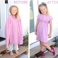 Sewing clothes, diy clothes, recycle old clothes, sewing projects for Fashion Kids, Diy Fashion, Ideias Fashion, Little Girl Dresses, Girls Dresses, Diy Kleidung, Diy Clothes Videos, Old Shirts, Diy Dress