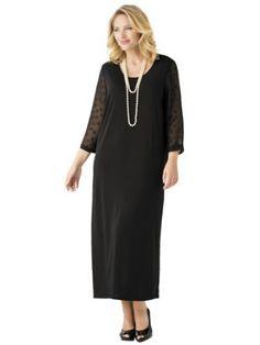 Ulla Popken Plus Size Matte Jersey Dot Sleeve Maxi Dress Trendy Collection, Maxi Dress With Sleeves, Cold Shoulder Dress, Collections, Plus Size, Dresses, Fashion, Fashion Styles, Dress