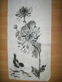 Crisantemo con uccellino Sumi-e