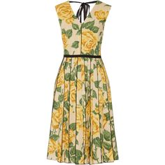 Marc Jacobs Floral-print poplin dress ($835) ❤ liked on Polyvore featuring dresses, yellow, yellow fitted dress, yellow floral dress, zipper dress, flower print dress and loose fit dress