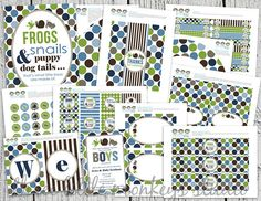 Frogs Snails and Puppy Dog Tails Baby by 3LittleMonkeysStudio, $40.00  Love these colors/theme for the nursery