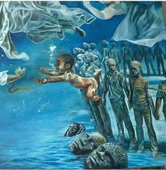 """""""God brings men into deep waters not to drown them, but to cleanse them."""" - James H. Aughey By: Akomicsart Black Art Painting, Black Artwork, Black Love Art, Black Girl Art, African American Art, African Art, Black Power, Black Art Pictures, Afro Art"""