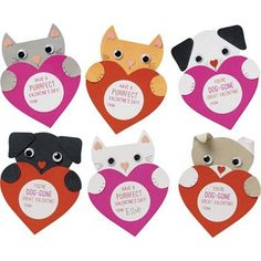 Send sweet greetings with these furry friends! Our puppy and kitten cards are irresistible and come with stickers with playful messages that make giving Valentines easy. Craft kit makes 28 valentines, Homemade Valentines Day Cards, Puppy Valentines, Valentine Crafts For Kids, My Funny Valentine, Cat Valentine, Valentines Day Party, Valentine's Cards For Kids, Valentine's Day Diy, Diy Hacks