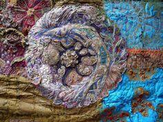 Detail: Fragments of Nostalgia, 2008 by Gordana Brelih Textile Texture, Textile Fiber Art, Textile Artists, Fabric Painting, Fabric Art, Free Motion Embroidery, Machine Embroidery, Ribbon Embroidery, Art Populaire