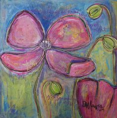 """For Sale: We Grow with Light and Love  by Laurie Maves    $250   24""""w 24""""h   Original Art   https://www.vangoart.co/lauriemavesart/we-grow-with-light-and-love"""