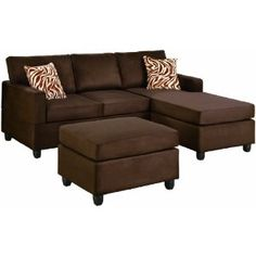Chocolate microfiber sectional sofa set with chaise reversible. Long are the days of bulky modular sofas. You no longer need a living room or a family room 3 Piece Sectional Sofa, Sectional Sofa With Chaise, Fabric Sectional, Sofa Pillows, Sofa Set, Accent Pillows, Sleeper Sectional, Corner Sectional, Throw Pillows