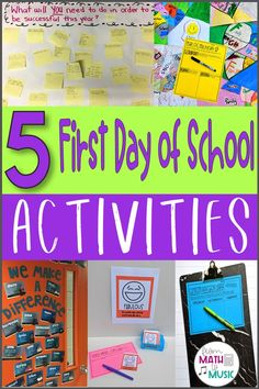 First Day of School Activities - From Math to Music
