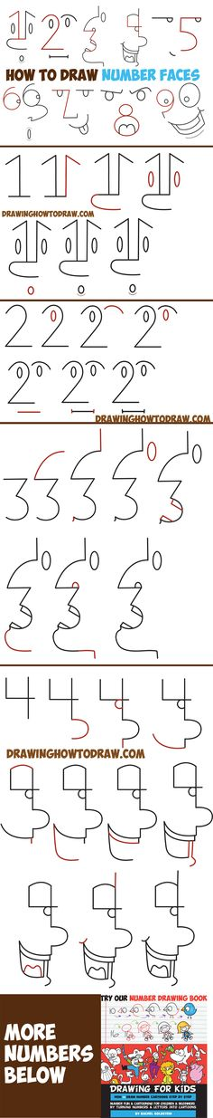 How to Draw Cartoon Faces from Numbers 1 - 9 Easy Step by Step Drawing Tutorial for Kids