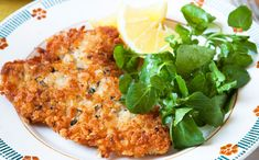 Hairy Dieters Meat Feasts Lemon Pork Schnitzel      2 x 180g pork loin steaks     1 large egg     2 tbsp plain flour     75g coarse dried white breadcrumbs (Japanese panko breadcrumbs are ideal)     finely grated zest of ½ lemon     15g Parmesan cheese, finely grated     1 heaped tbsp chopped fresh thyme leaves     300ml vegetable oil     2 handfuls of watercress, to garnish     1–2 tsp extra virgin olive oil, to drizzle     flaked sea salt     freshly ground black pepper