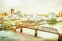 a beautifully creative image of downtown shreveport edited as a digital painting. This would be a great addition to any office/home.