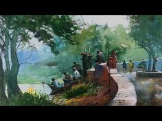 Watercolor painting demonstration on the spot at Powai Lake by Prashant Sarkar. Camlin artist Watercolor and chitrapat handmade paper 270 GSM, rough grains, . Watercolor Tips, Watercolor Tutorials, Watercolour Painting, Paintings, Landscape, Canvas, Drawings, Sweet, Artwork
