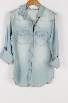 Light Denim Shirt from Gypsy Outfitters. I dread anything resembling a Texas Tuxedo, but I love this and would it pair with black skinnies.