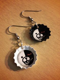 Monobear Earrings - SINGLE PAIR - Dangan Ronpa - Handmade - Monokuma Junko Enoshima sold by Monostache. Shop more products from Monostache on Storenvy, the home of independent small businesses all over the world. Weird Jewelry, Cute Jewelry, Jewelry Crafts, Jewelry Accessories, Funky Jewelry, Funky Earrings, Diy Earrings, Earrings Handmade, Diy Accessoires
