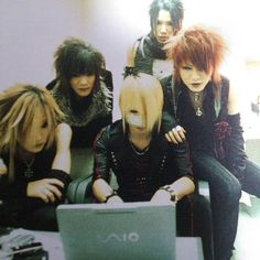 Uruha, Kai Reita, Aoi and Ruki, the GazettE. Awww! Look how young they are here! And Ruki! I love his young red hair look days! ♡