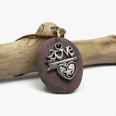 Purple beach stone necklace, Silver heart and arrow charm pendant, Drilled river pebble natural jewelry, Love token gift Purple oval pendant by JantraK