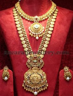 Jewellery Designs: Latest Broad Kasu Haram with Jhumkas