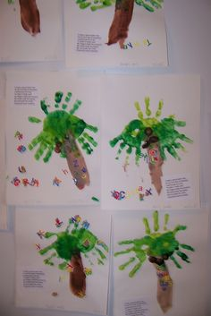 Chicka Chicka Boom Boom: You cant start the preschool year without a keepsake handprint project! The poem says it all: I made a special palm tree On my first day of preschool. I painted parts of me To make it really cool! My fingers made the coconuts. My hands made the leaves. My arm made the trunk. preschools such a breeze! :)