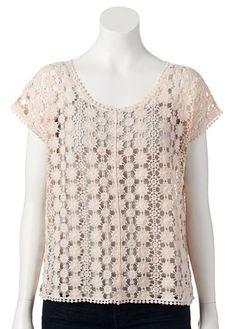 LC Lauren Conrad Crochet Top - Women's