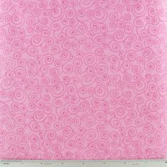 Pink Scroll Print Cotton Calico Fabric