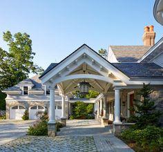 Stone and shingle exterior. Home exterior with field stone exterior and shingles. Stone driveway. Brooks and Falotico Associates, Inc.