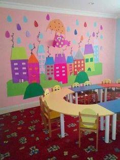 love that mural Kids Crafts, Diy Arts And Crafts, Paper Crafts, Class Decoration, School Decorations, Classroom Board, Classroom Decor, Bulletin Board, Kindergarten Preparation