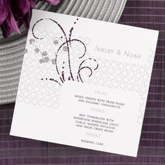 """Burst Menu Card  Make a fashionable presentation of your menu choices with this stylish, white menu card. For names printed at top, enter in the first line of copy.  5 1/2"""" x 5 1/2""""      • Production time is 3 working days.  • Layout and imprint colors are only available as shown. Imprint colors will change with the choice of background colors selected.  • Background options include; Platinum and Grape (shown), Merlot and Ebony, Admiral and Margarita, Raspberry and Bubble Gum, Aquarium and…"""