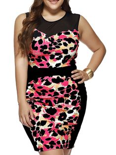Plus Size Sleeveless Leopard Print Sheath Dress