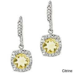 Glitzy Rocks Sterling Silver Gemstone and CZ Dangle Earrings. Possible matching earrings for the girls.