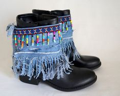 Items similar to Native American denim fringe boot covers-Boho boot covers -Super Distressed-Gypsy boot cuffs-Hippie boot cuffs-Boot socks-Ethnic boot cuffs on Etsy Hippie Boots, Gypsy Boots, Boho Boots, Denim Boots, Fringe Boots, Crochet Boot Cuffs, Crochet Boots, Botas Boho, Boot Bracelet