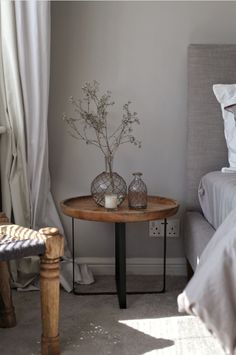 Spring interiors. The round bedside table.