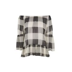 Gingham Check Bardot Blouse by Glamorous ($22) ❤ liked on Polyvore featuring tops, blouses, black, sleeve blouse, gingham blouse, retro tops, gingham top and glamorous tops