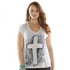 Rock & Republic® Embellished Cross Tee - Women's Plus Size