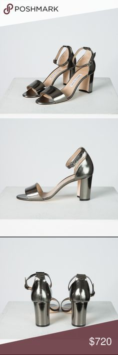 """Manolo Blahnik Lauratomode Specchio Sandal, Silver BRAND NEW, WORN ONCE. Manolo Blahnik Leather Block-Heel Ankle Wrap Sandal in Anthracite sized 40 (US 10) purchased from Neiman Marcus September 2016. Only worn for 20 minutes during a magazine's fall fashion editorial photo shoot with minor damage to the suede soles. Easy to style with boyfriend jeans or evening wear.  -Size 40 (US 10), runs small -Worn once for a fashion photo shoot  -2.75"""" block heel -Adjustable ankle strap -100% leather…"""