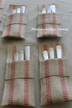 utensil holder pocket that could be done with lace and bling embellishment