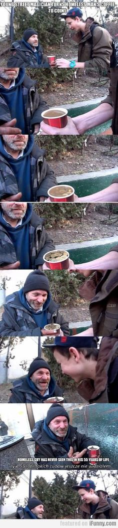 Young Street Magician Turns Homeless Mans coffe into money