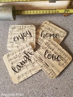 DIY Farmhouse Music Sheet Coasters Give your old worn out coasters a new lease on life using some mod podge, Sheet Music Crafts, Old Sheet Music, Music Sheets, Sheet Music Decor, Sheet Music Ornaments, Coaster Crafts, Diy Coasters, Funny Coasters, How To Make Coasters