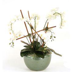 Silk Cream-White Orchid Trellis in a Round Spa Green Glazed Planter Faux Flower Arrangements, White Orchids, Neutral Tones, Faux Flowers, Fabric Online, Cream White, Trellis, Fabric Patterns, Home Accessories