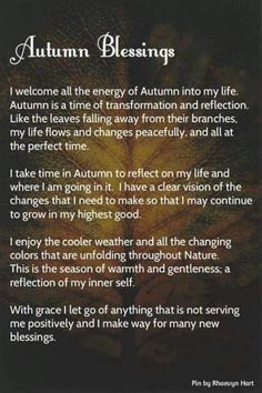 Autumn blessings: a prayer for Mabon (the Autumnal Equinox) Mabon, Samhain, Autumnal Equinox, Wicca Witchcraft, Wiccan Witch, Magick Spells, The Embrace, Spiritus, Sabbats