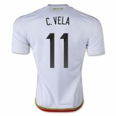 Mexico national team 2015 C.Vela #11 Away White Soccer Jersey [B27]