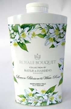 Baylis & Harding Royale Bouquet Collection Lemon Blossom & White Rose Talcum Powder by Royale Bouquet. $18.00. Royale Bouquet. Lemon Blossom & White Rose Talc. Talcum Powder. 7.0 oz. A Luxurious talcum powder gently fragranced with Lemon Blossom & White Rose, it gently removes excess moisture from the skin after bathing, leaving it wonderfully smooth and scented